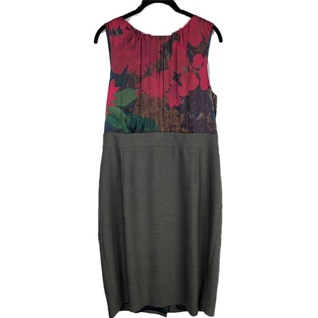 Item - Grey Multicolor Silk Print Bodice Wool Sleeveless Sheath Career Mid-length Work/Office Dress Size 14 (L)