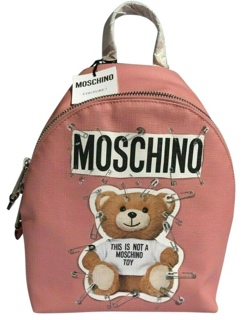 Item - Teddy Bear Safety Ancient Silver Pink Polyurethane Backpack