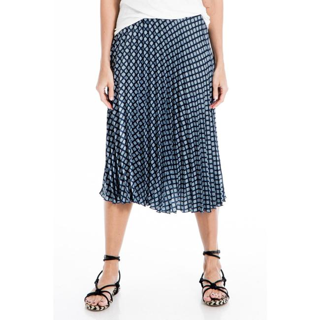 Item - Blue Pleated Patterned Skirt Size 12 (L, 32, 33)