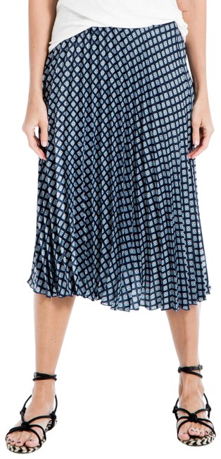 Item - Blue Pleated Patterned Skirt Size 8 (M, 29, 30)