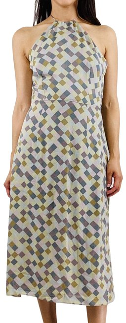 Item - Multi Color Checkered Halter Neck Mid-length Short Casual Dress Size 8 (M)