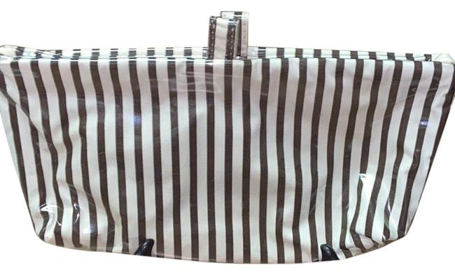 Item - Brown & White New Canvas Coated Pouch Cosmetic Bag