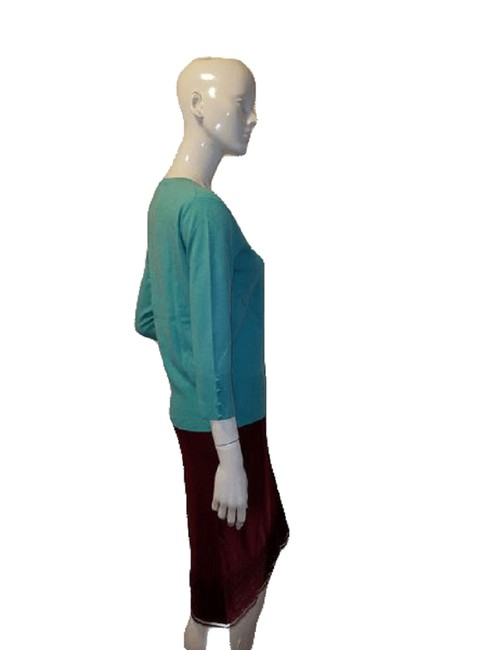 Item - Teal 3/4 Sleeve Knit Sweater Tee Shirt Size 10 (M)