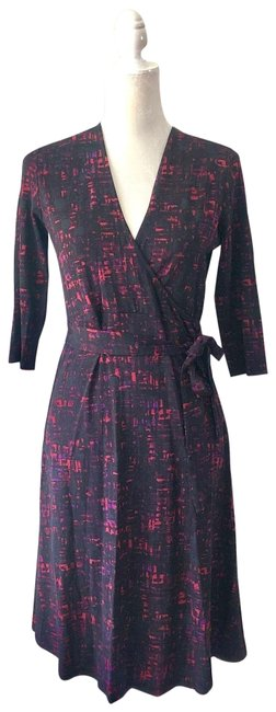 Item - Black Red Wrap Short Casual Dress Size 4 (S)