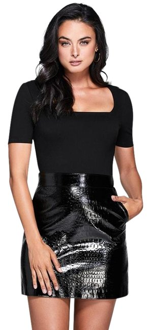 Item - Black Holland Faux Leather Croc Embossed Square Neck Sexy Mini Short Night Out Dress Size 4 (S)