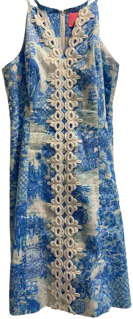 Item - Blue Multi Pearl Stretch Shift Short Cocktail Dress Size 2 (XS)