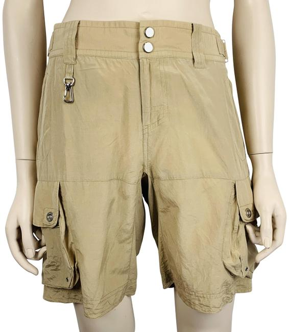 Item - Khaki Brown Beige Silk Blend Safari Silver Hardware Shorts Size 4 (S, 27)