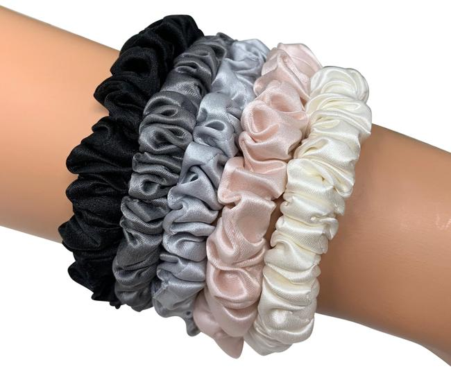 Item - Black Dark Silver Gray Blush and Ivory. Pure Silk Pack-5 Skinny Scrunchies Hair Accessory