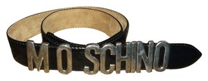 Moschino Moschino Black Leather Belt With Silver Lettering