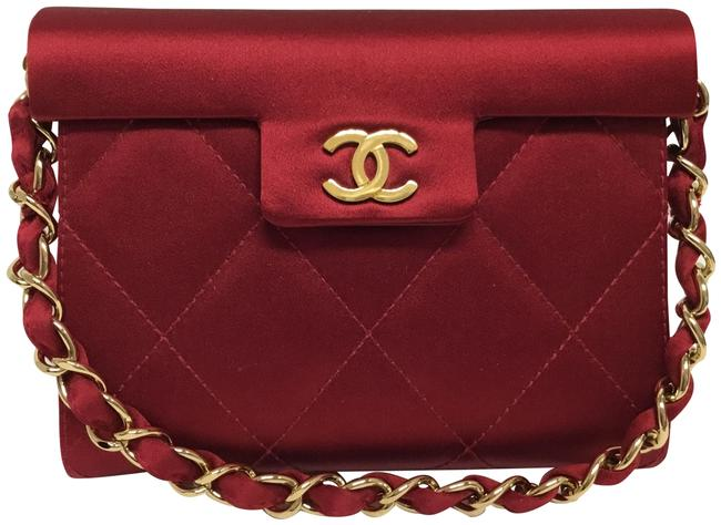 Item - Evening Bag With Gold Hardware Red Silk Satchel