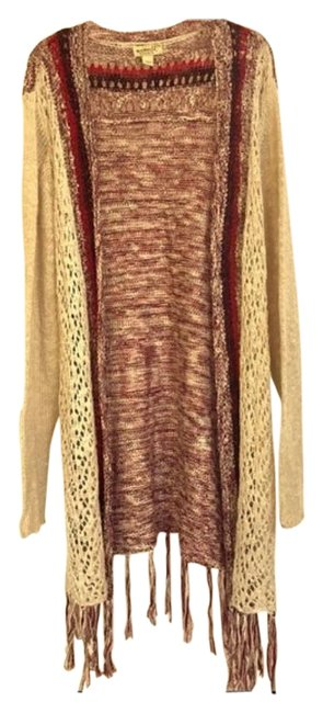 Item - Cream Red and Black Knit Fringed Duster Sweater Xlp Cardigan Size Petite 14 (L)