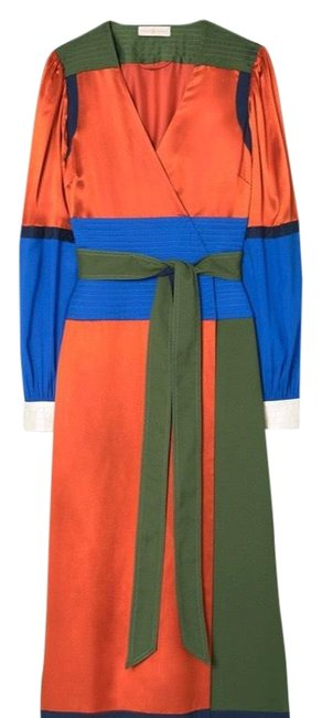 Item - Multi Color Colorblock Silk Wrap Mid-length Formal Dress Size 14 (L)