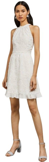 Item - White Lorene Embroidered Halterneck Tb Short Night Out Dress Size 10 (M)