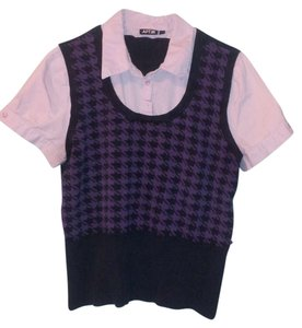 Apt. 9 Vest Button Down Shirt Purple & Black