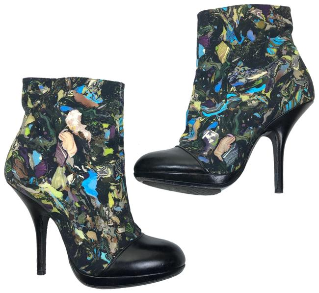 Item - Canvas Abstract Leather Cap Toe Heels Boots/Booties Size EU 38 (Approx. US 8) Regular (M, B)