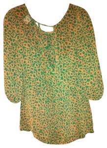 Jella Couture Sheer Wrap Circles Geometric Tie Ties At Neck Top Emerald Green & Mandarin Orange