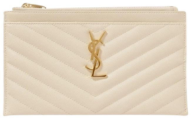 Item - Université Monogramme Quilted Textured-leather Pouch Off-white Leather Clutch