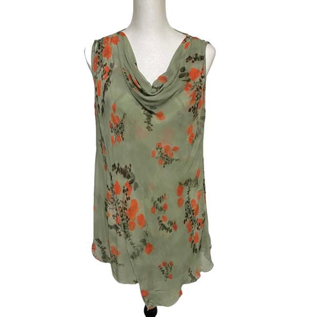 Item - Green Draped Floral Waterfall Silk Blouse Size 6 (S)
