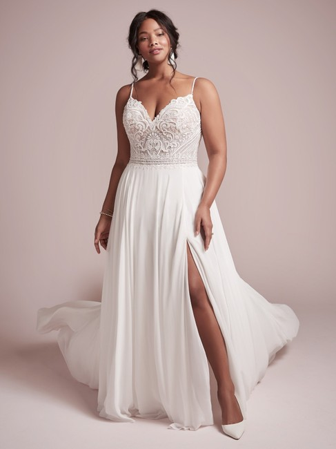 Item - Ivory with Nude Illusion Lace and Chiffon Lorraine Destination Wedding Dress Size 20 (Plus 1x)