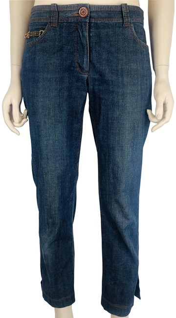 Item - Dark Navy Blue Brown Jeans Denim Stitching Slim Leg Ankle Pants Size 8 (M, 29, 30)