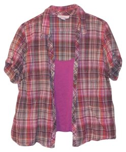 Dress Barn Plaid Button Down Shirt Pink & Orange