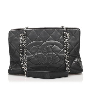 Chanel 0gchto016 Vintage Leather Tote in Black