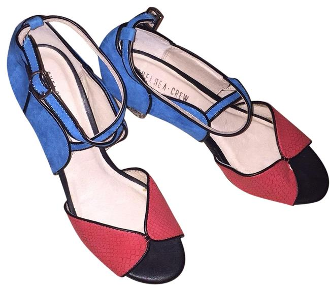 Item - Coral Toe Electric Blue Heel Back and Straps with A Black and Tan Print In Woven Straw On The Actual Heel Pumps Size US 10 Regular (M, B)