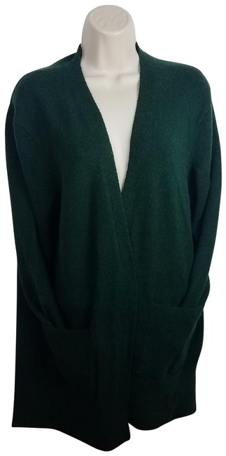 Item - Green Long Open Front Blue Cardigan Size 4 (S)