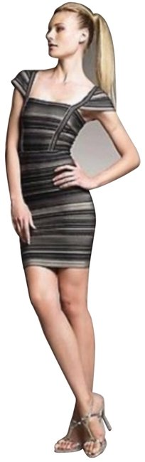 Item - Black Tan XS Sandra Beige Striped Bodycon Bandage 0 Short Night Out Dress Size 0 (XS)