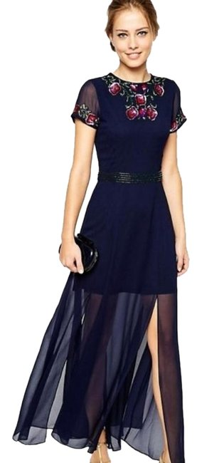 Frock and Frill Navy With Embellishment Long Formal Dress Size 4 (S) Frock and Frill Navy With Embellishment Long Formal Dress Size 4 (S) Image 1