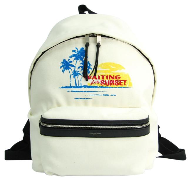 Item - Sunset City Waiting For 465448 Unisex Black / Blue / Off-white / Red Color / Yellow Canvas / Leather Backpack