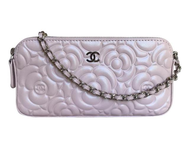 Item - Wallet on Chain Double Zip Woc Pearly Pink Leather Shoulder Bag
