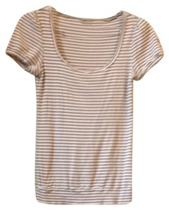 Banana Republic Top White Snd Beige Striped