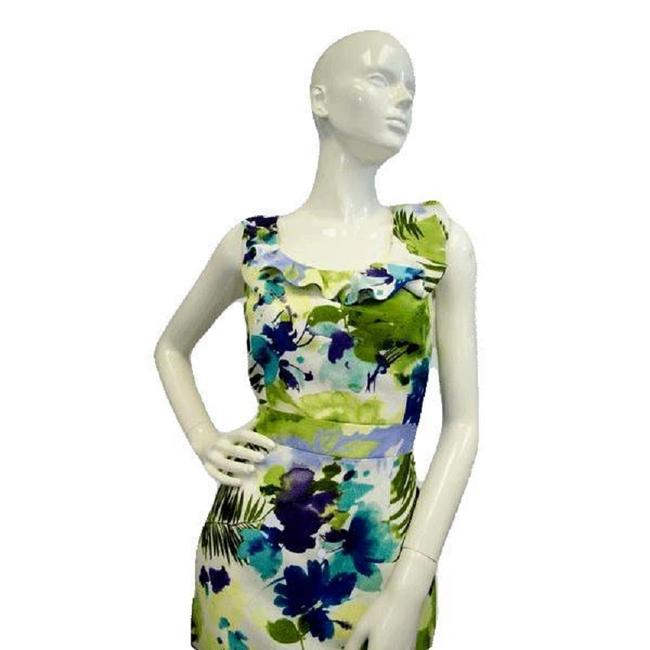 Item - White Blue Green 90's Floral Sku 000066 Mid-length Night Out Dress Size 10 (M)
