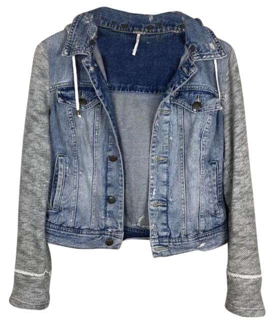 Item - Blue Gray Distressed Knit Jean Jacket Size 4 (S)