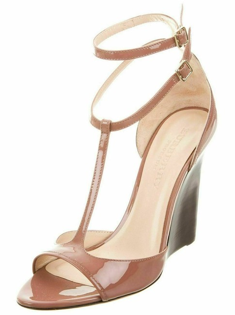 Item - Rose Mauve T-strap Patent Leather Wedge Sandals Size US 8 Regular (M, B)