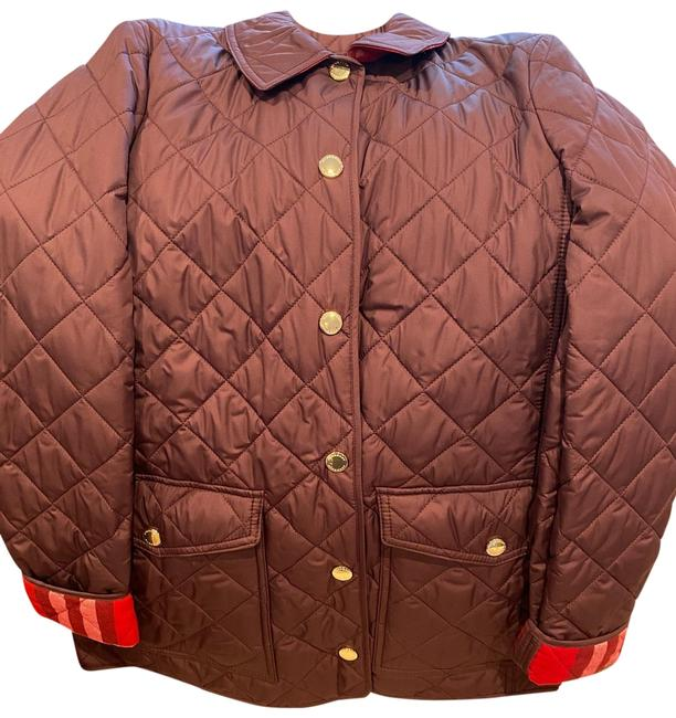 Item - Burgundy/Eggplant Check Detail Diamond Quilted Jacket Size 8 (M)