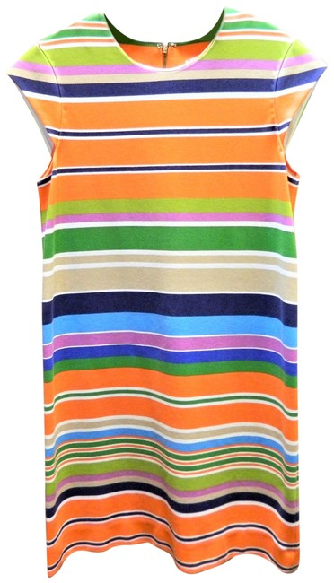 Item - Multicolor Orange/Blue Nico Work/Office Mid-length Short Casual Dress Size 2 (XS)