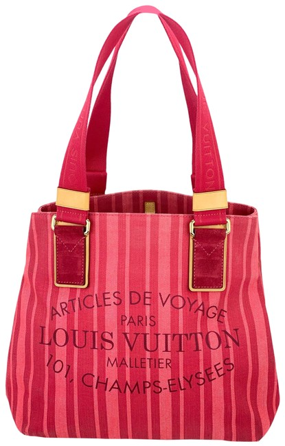 Item - Cabas Plein Soleil Limited Edition Tote A562 Red Rouge Grenadine Canvas Beach Bag