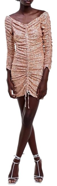 Item - Rose Gold Draped Ruched Sequin Mini Short Cocktail Dress Size 2 (XS)