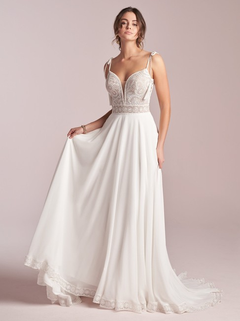 Item - Ivory with Nude Illusion Lace and Chiffon Jolie Destination Wedding Dress Size 16 (XL, Plus 0x)