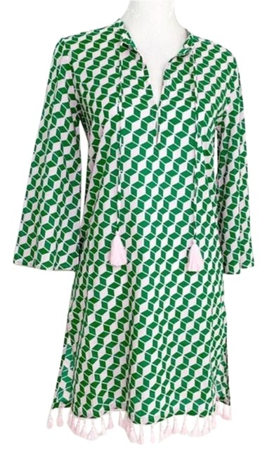 Item - Pink and Green Tasseled Tunic Cover-up/Sarong Size 00 (XXS)