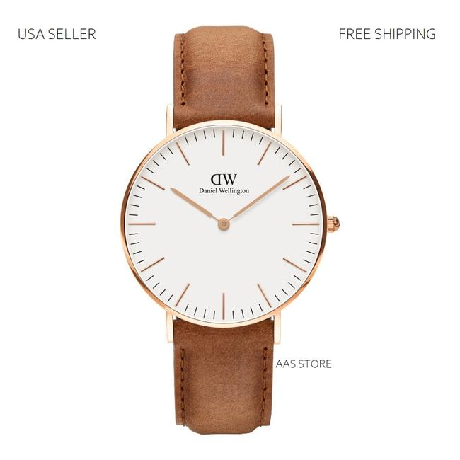 Item - Brown White Rose Gold Classic Durham Leather Dial 40mm Watch
