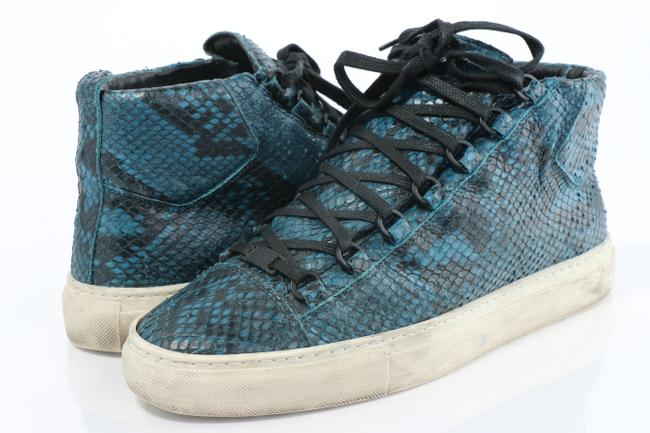 Item - Multicolor Men's Arena Python-embossed Leather High-top Sneaker Shoes