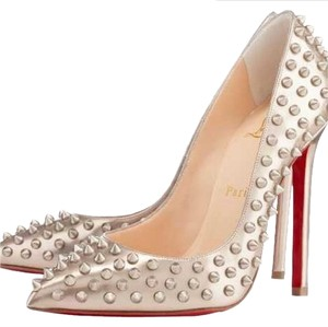 Christian Louboutin Studded Gold Silver Pigalle Follies So Kate Beige Pumps