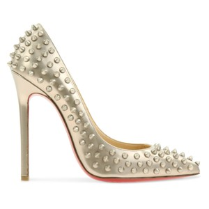 Christian Louboutin Studded Silver Pigalle Follies So Kate Gold Pumps
