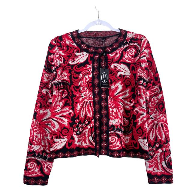 Item - Red & Black Open Front Sweater Cardigan Size 8 (M)