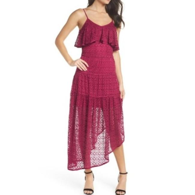 Item - Red Foxiedox Reyna Burgundy Laced Mid-length Night Out Dress Size 2 (XS)