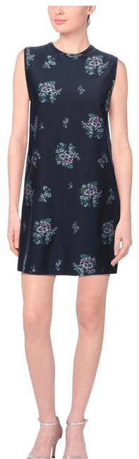 Item - Navy Blue Wool Floral Tunic Short Cocktail Dress Size 10 (M)