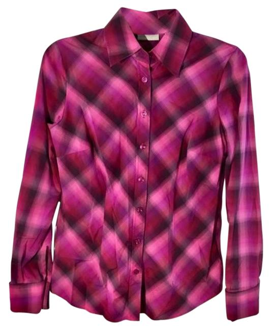 Item - Pink Purpel Co Pliad Long Sleeves Button-down Top Size 4 (S)
